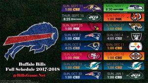 Buffalo Bills 2017 Full TV Schedule